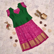 Green Top With Dual Tone Pink Skirt