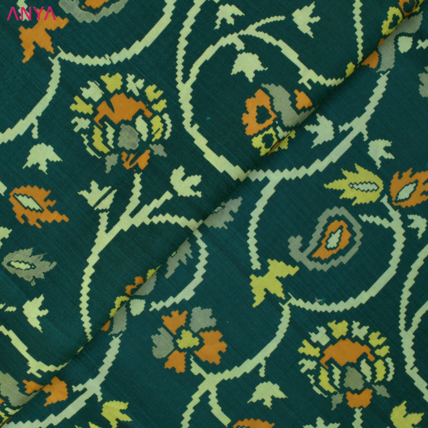 Peacock Green Floral Printed Kanchi Silk Fabric