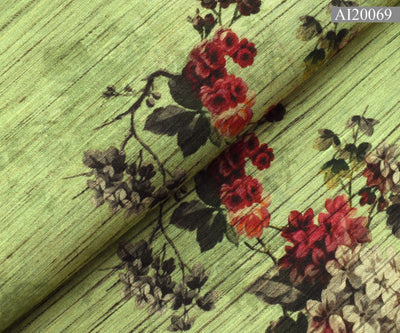Dark Olive Green Floral Printed Tussar Fabric