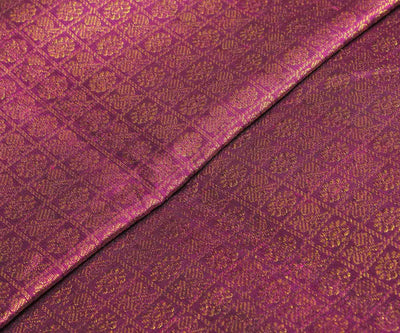 Purple Kanchi Silk Fabric With Zari Checks And Buttas