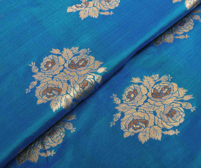 Blue Banarasi Silk Fabric with Rose Design