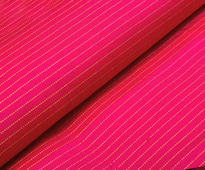 Rani Pink Kanchi Silk Fabric With Dotted Stripes Zari Design