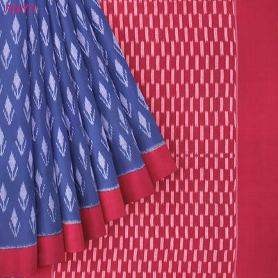 Blue Ikkat Cotton Saree