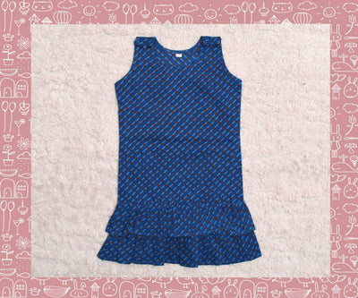 Sabarmathi - Dark Blue With Orange Stripes Frock (2yrs)