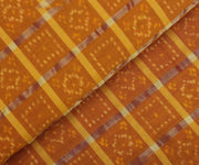 Mustard Ikkath Fabric With Golden Checks
