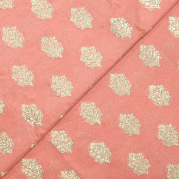 Peach Banarasi Silk Fabric With Gold Floral Zari Design
