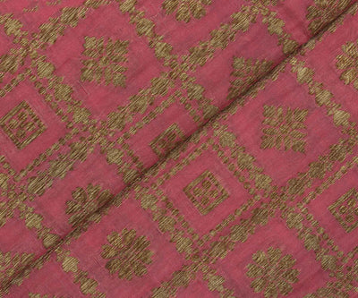 Pink Color Banarasi Silk Fabric with Antique Zari