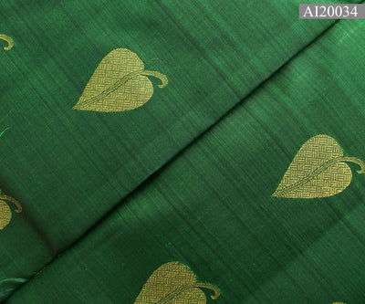 Bottle Green  Kanchi Silk Fabric With Leaf Butta  Highlights