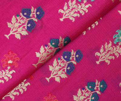 Pink Banarasi Silk with Multi-Color Zari Buttas