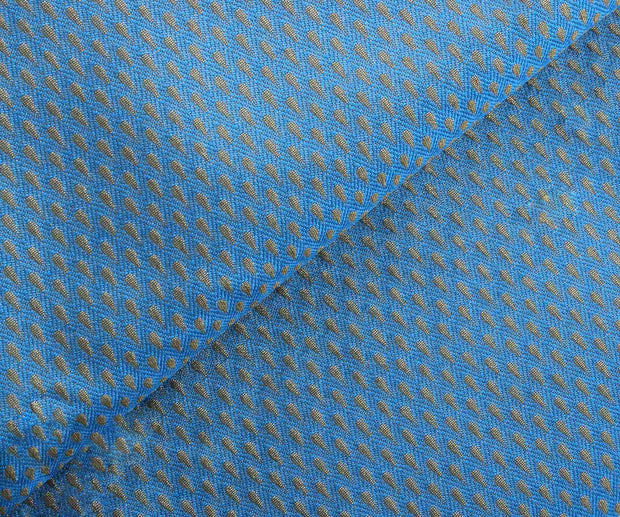 Blue Semi Banarasi Fabric with Self Design