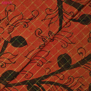Orange Checked Pen Kalamkari Fabric