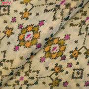 Dual Tone Half White & Gold Patan Patola Silk Fabric With Zari Border