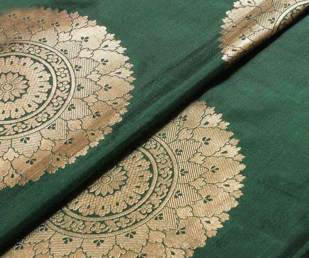 Forest Green Banarasi Silk Fabric With Mandala Design
