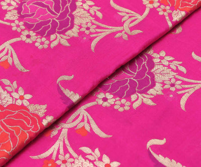 Fuschia Pink Floral Banarasi Silk Fabric With Zari Highlights