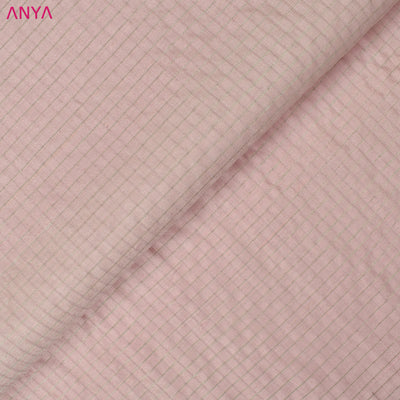 Baby Pink Checked Tussar Silk Fabric