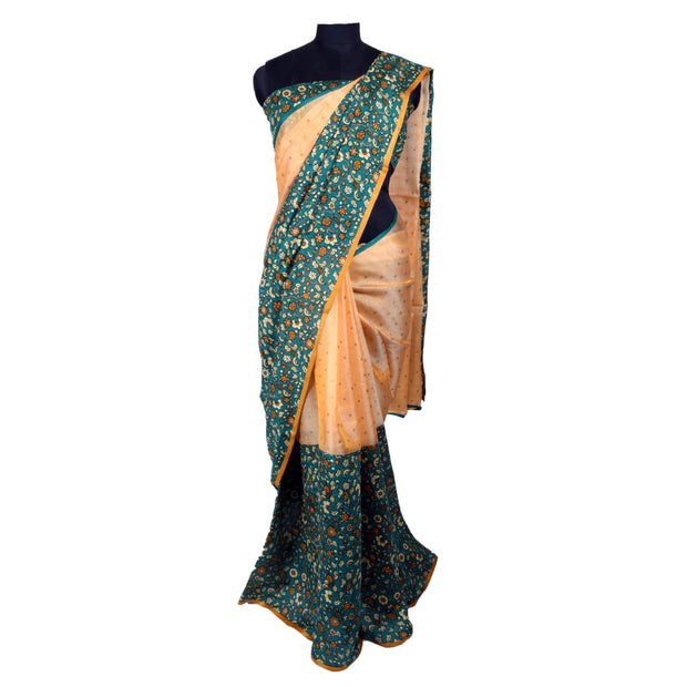 Lite Peach Bailu Silk And Peacock Green Floral Printed Chanderi Silk , Half And Half Saree - With Blouse