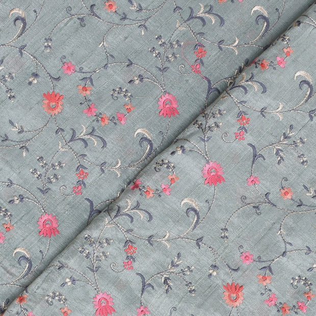 Pastel Mint Green Multi Thread Floral Embroidery Tussar Fabric