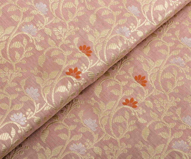 Peach Banarasi Silk Fabric with Creeper