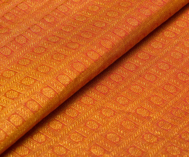 Double Shade Orange Kanchi Silk Fabric With Zari Checks And Buttas