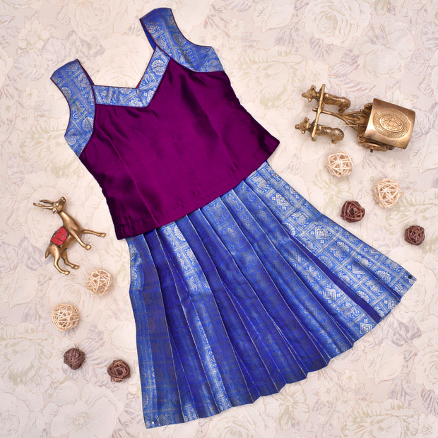 Wine With Dual Tone Blue Frock