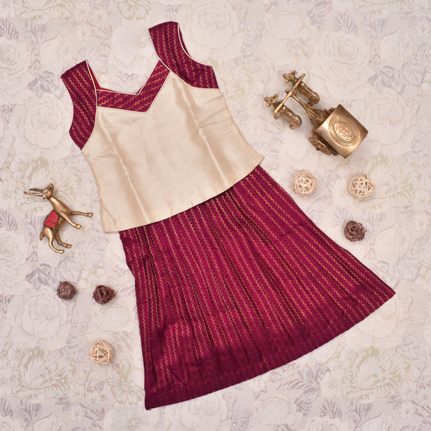 Half White With Maroon Frock