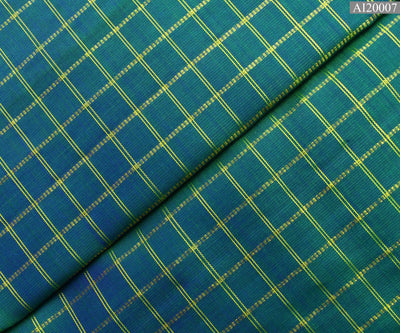 Peacock Blue Double Shaded Kanchi Silk Fabric With Checked Zari Design