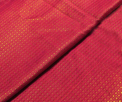 Ruby Red Kanchi Silk Fabric With Zari Checks And Pulka Dots