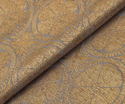 Grey Banarasi Silk Fabric With Antique Zari Butta Highlights