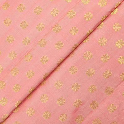 Peach Kanchi Silk Fabric With Butta