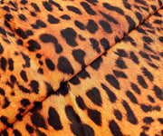 Tiger Orange Printed Semi Raw Silk Fabric
