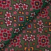 Dual Tone Bottle Green And Red Patan Patola Silk Fabric