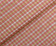 Peach Self Checked Tussar Silk Fabric