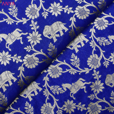Electric Blue Banarasi Silk Fabric