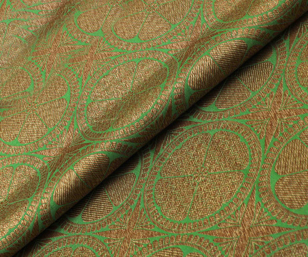 Parrot Green Banarasi Silk Fabric With Antique Zari Butta Highlights