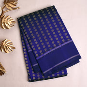 Ink Blue Kanchi Silk Saree With Blue Blouse