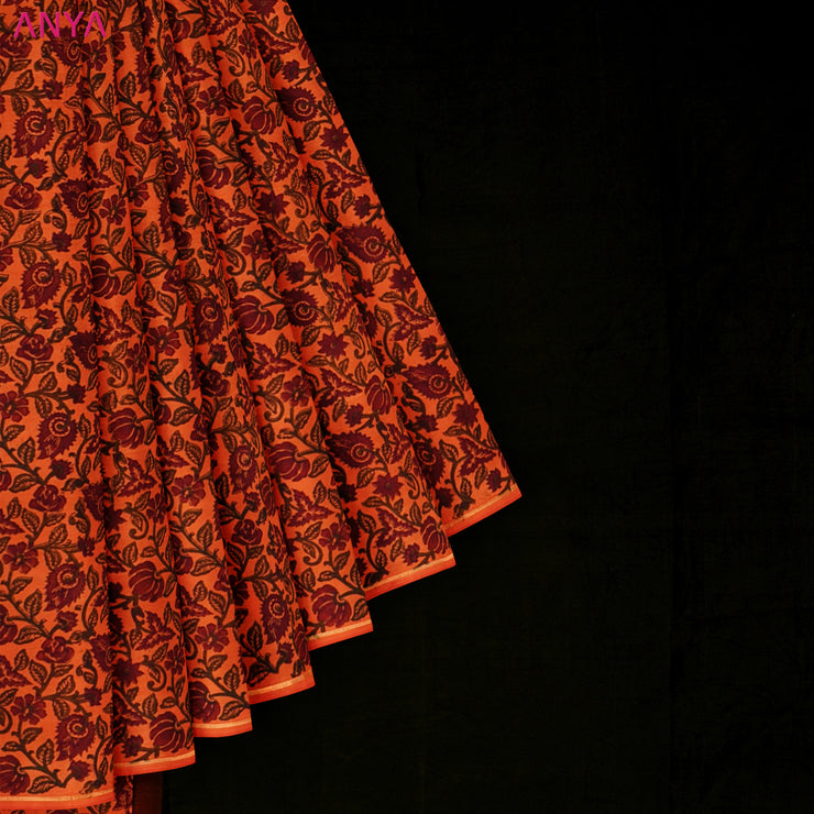 Orange Printed Kanchi Silk Saree