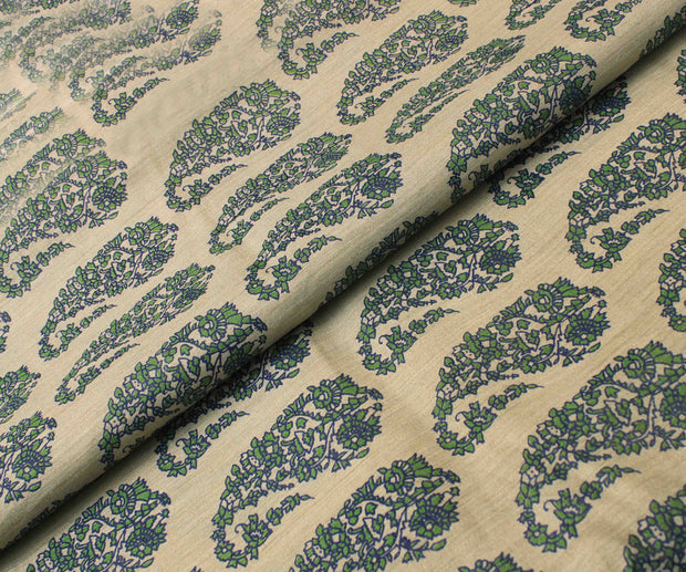 Off White Tussar Fabric With Green Paisley Floral Printed Designs