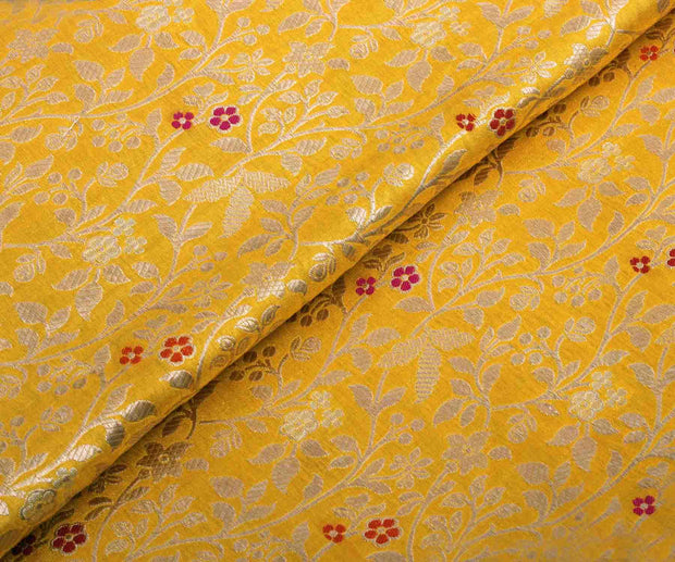 Yellow Banarasi Silk Fabric With Creeper