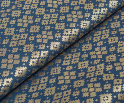 Indigo Blue Banarasi Silk Fabric With Buttas