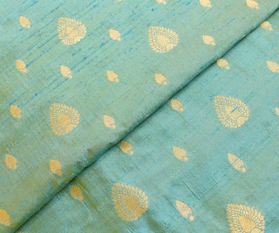 Ocean Green Tussar Fabric With Zari Butta Highlights