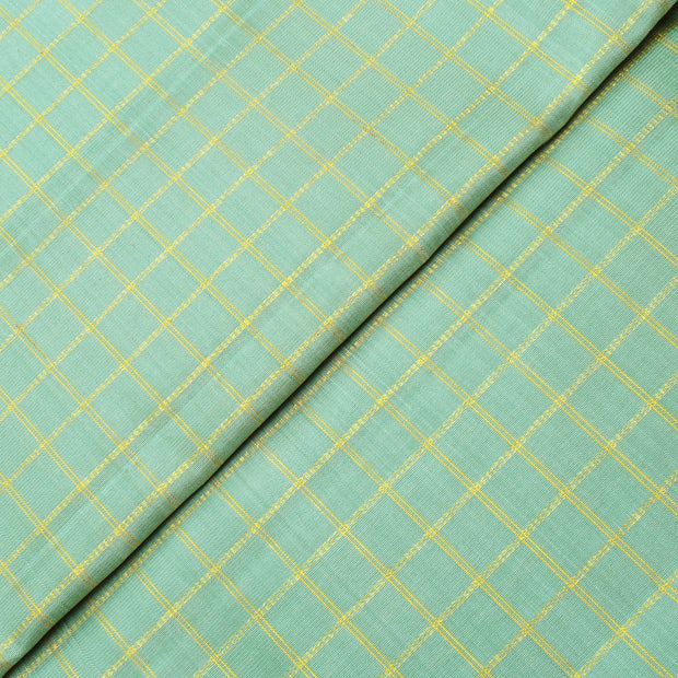 Light Pear Green Zari Kattam Kanchi Silk Fabric