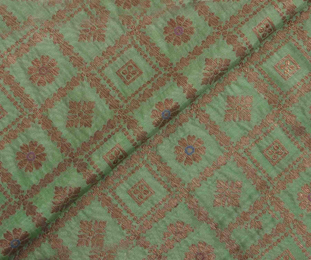 Apple Green Antique Banarasi Silk Fabric