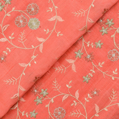 Peach Multi Thread Floral Embroidery Tussar Fabric