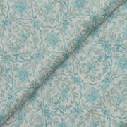 White Linen Fabric With Rexona Blue And Green Floral Printed Design And Silver Zari Border