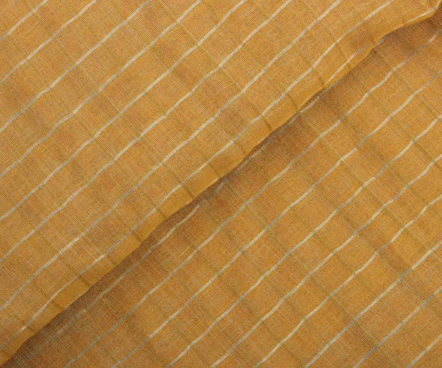 Mustard Linen Tussar Fabric with Checks