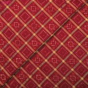 Red Ikkat Silk Fabric With Checked Zari