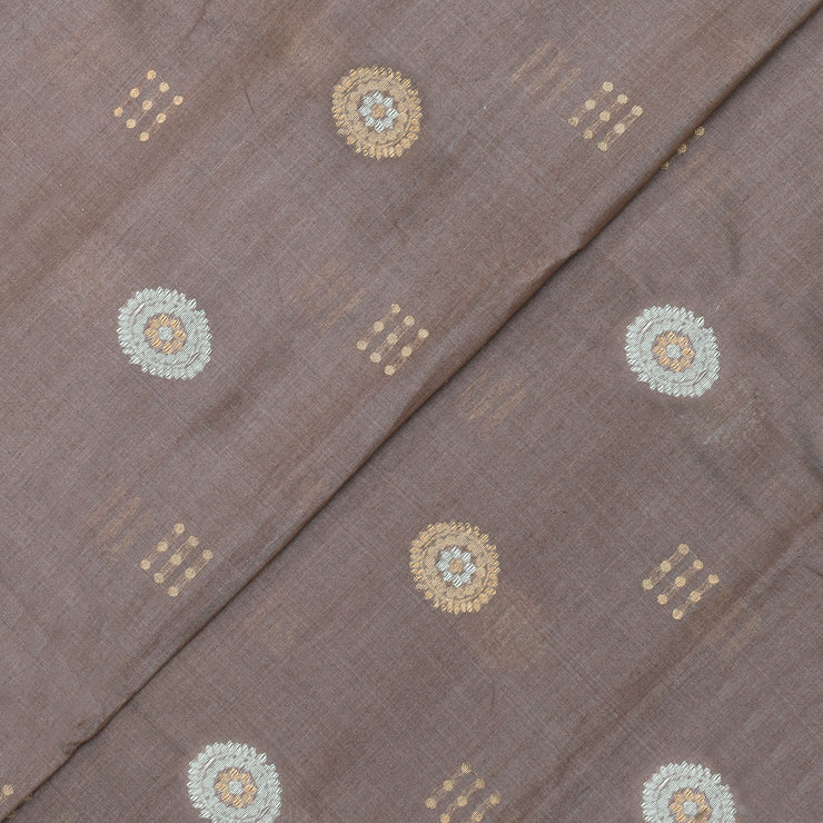 Raw Pink Tussar Fabric With Gold And Silver Zari Butta Design