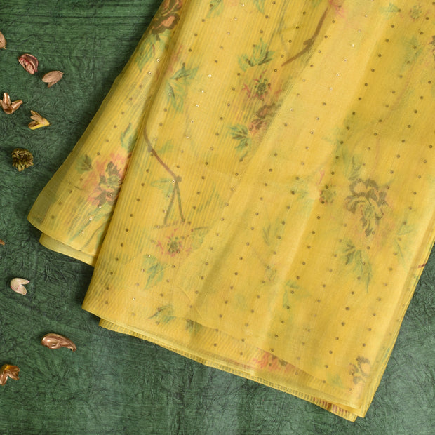 Yellow Printed Organza Sequins Saree With Blouse