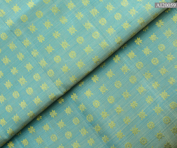 Baby Blue Star Button Kanchi Silk Fabric