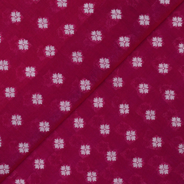 Ruby Red Gold Zari Floral Butta Soft Banarasi Silk Fabric